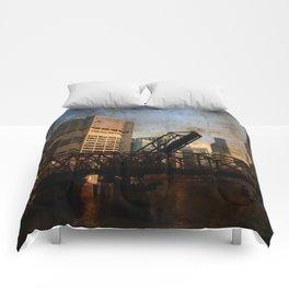 Chicago Skyline Chicago River Drawbridge Comforters