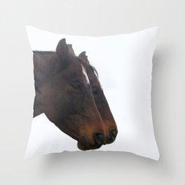 Twin Horses Photography Print Throw Pillow