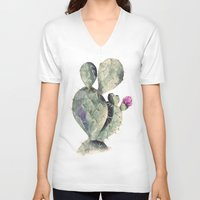 cactus V-neck T-shirts featuring CACTUS by Annet Weelink Design