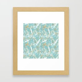 Golden Peacock Feather Pattern 04 Framed Art Print