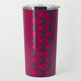 kari - candy apple red and royal blue abstract pattern Travel Mug