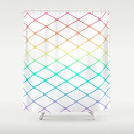 Fishnets in Pastel Rainbow on White Background Shower Curtain