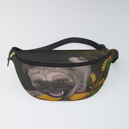 Cute little pug with flowers Fanny Pack