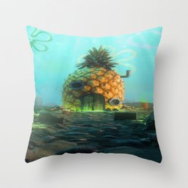 digital spongebob SpongeBob SquarePants digital artwork Mark Kirton radiation Throw Pillow