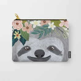 Sloth with flowers on head Carry-All Pouch