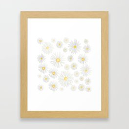 white daisy pattern watercolor Framed Art Print