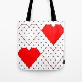 Geometric Heart Pattern Dot to Dot Tote Bag