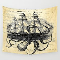 Kraken Octopus Attacking Ship Multi Collage Background Wall Tapestry