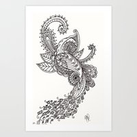 paisley Art Prints featuring Paisley by Bethany Pease