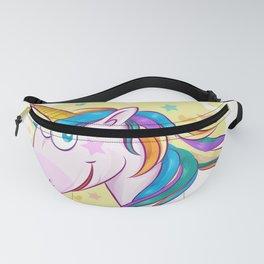 unicorn face cartoon on background Fanny Pack