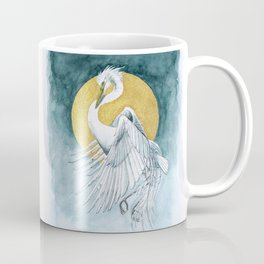 The Great White Egret and Golden Moon Coffee Mug