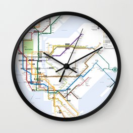 New York Subway Map Wall Clock