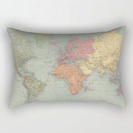 Vintage Map of The World (1889) Rectangular Pillow