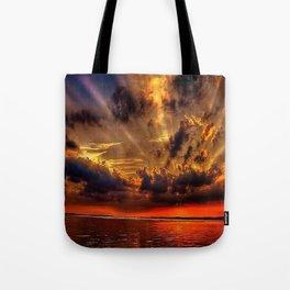 Sunset over the stone jetties of Jerusalem fishing village, Rhode Island Tote Bag
