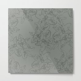 green line art floral pattern Metal Print