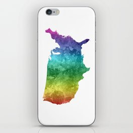 USA map in watercolor rainbow iPhone Skin