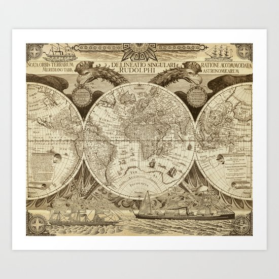 Antique world map with sail ships, sepia by blursbyaishop
