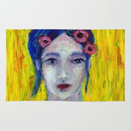 Red Flowers in Her Hair Rug