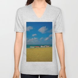 Colorful Boats Adorn the Tranquil Beach Unisex V-Neck