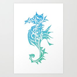 Seahorse Tattoo Blue and Turquoise Art Print