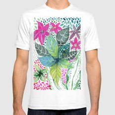 Leafy Tropical Mens Fitted Tee White MEDIUM