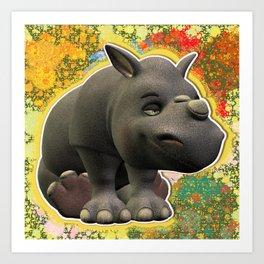 Smiley Sitting Down Young Rhino  Art Print