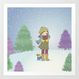 Girl and Dog in Snow Art Print