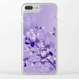 Purple Flowers Clear iPhone Case
