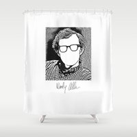 woody allen Shower Curtains featuring Woody Allen by totemxtotem