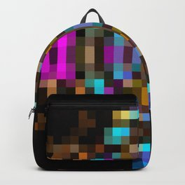 geometric square pixel abstract in blue orange pink with black background Backpack