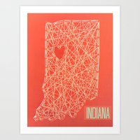 indiana Art Prints featuring INDIANA  by Luck Be The Lulu