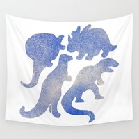 dino Wall Tapestries featuring dino blue  by gasponce