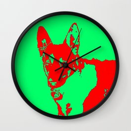 red Mitzi on green Wall Clock