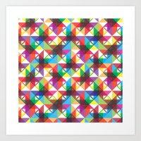 Abstract blocks pattern Art Print