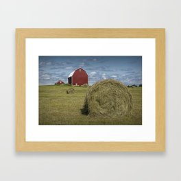 Hay Bales and Red Barn Framed Art Print