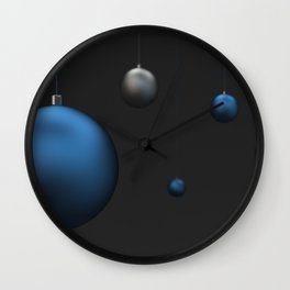 Set of blue and silver christmas balls Wall Clock