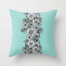 Penguins & Flowers Throw Pillow