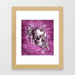 Plum Smoke and roses skull Illustration. Framed Art Print