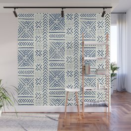 Line Mud Cloth // Ivory & Navy Wall Mural