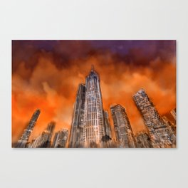 City in sunset Canvas Print