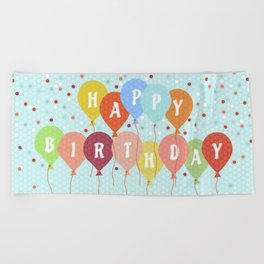 Colorful Birthday card Beach Towel