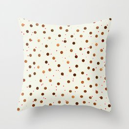 Copper Polka Dots With Red Hint Pattern Throw Pillow