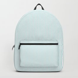 Duck Egg Pale Aqua Blue and White Vertical Thin Pinstripe Pattern Backpack