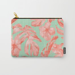 Island Life Coral Pink + Pastel Green Carry-All Pouch