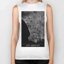 Los Angeles Black Map Biker Tank