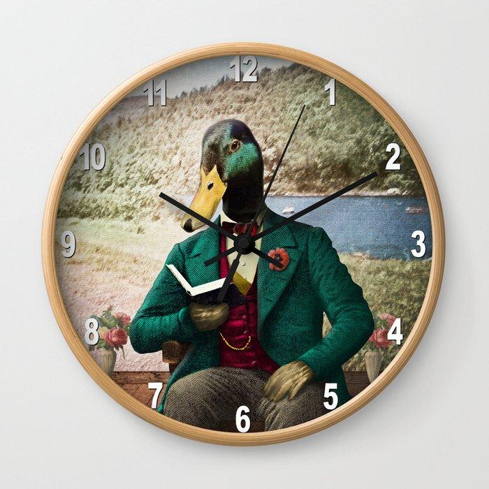 Monsieur Mallard Reading an Improving Book Wall Clock
