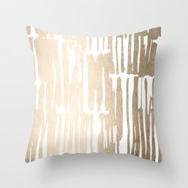 White Gold Sands Bamboo Stripes Throw Pillow
