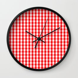 Large Christmas Red and White Gingham Check Plaid Wall Clock