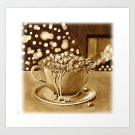 'Mallow Christmas ( coffee painting #1) Art Print