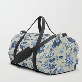 Monochrome Tan and Blue Alpine Flora Duffle Bag